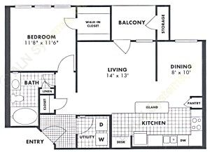 783 sq. ft. Redland floor plan