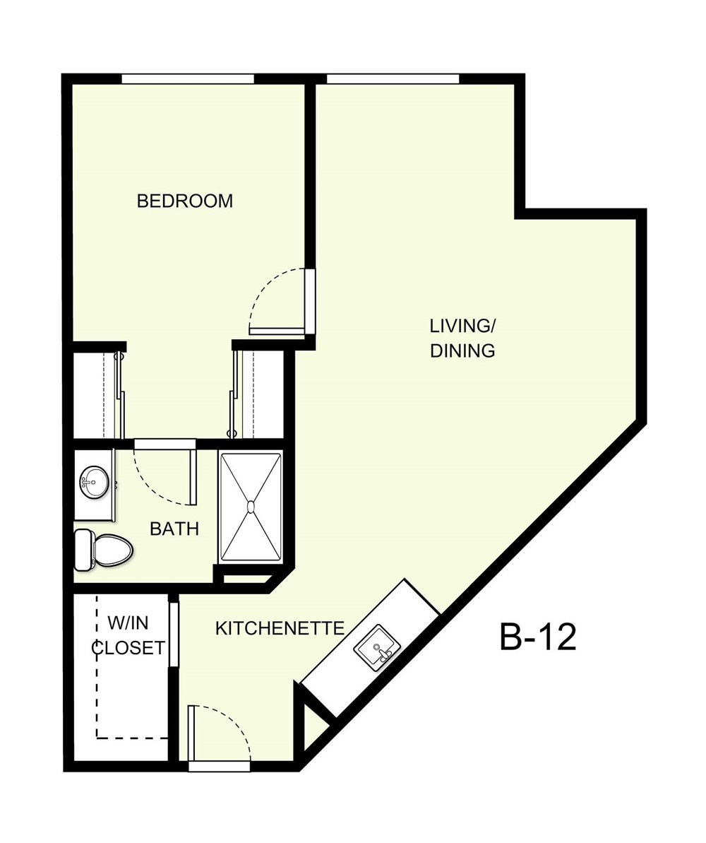 658 sq. ft. B12 floor plan