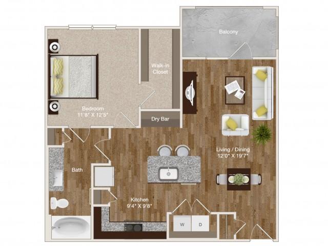 782 sq. ft. A5 floor plan