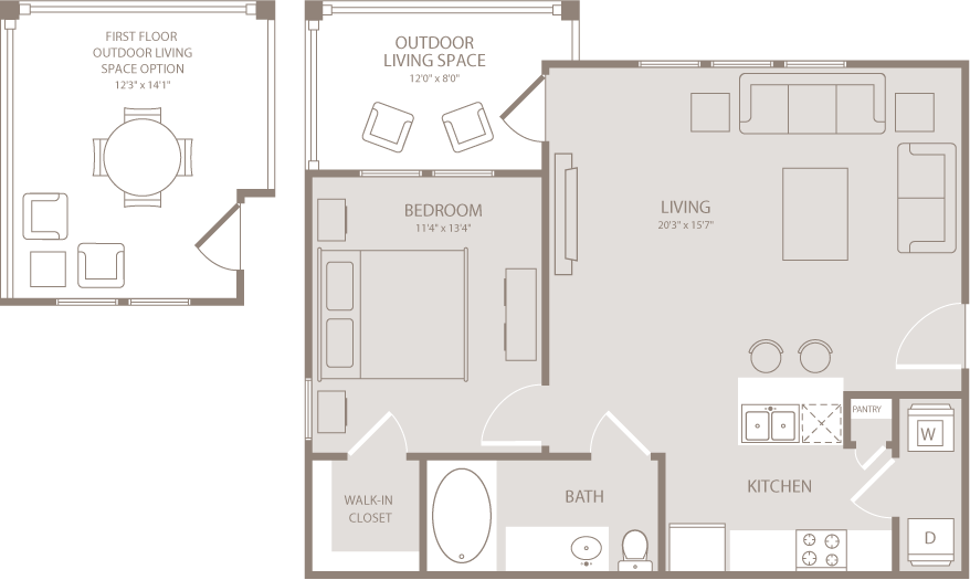 702 sq. ft. Calico floor plan