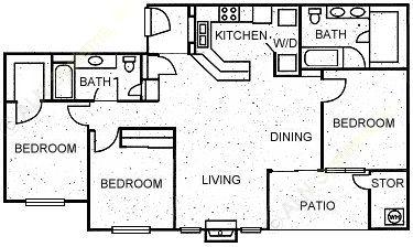 1,287 sq. ft. DYNASTY floor plan