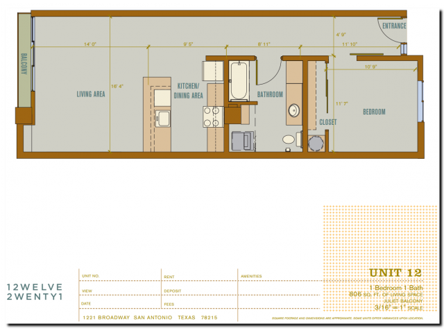 806 sq. ft. 2A12 floor plan