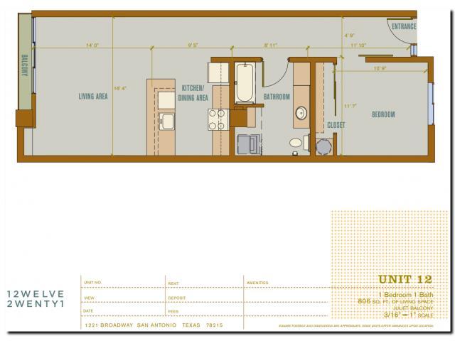 806 sq. ft. 2A12 floor plan
