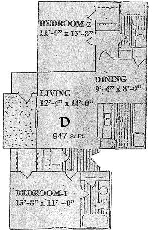 947 sq. ft. D floor plan