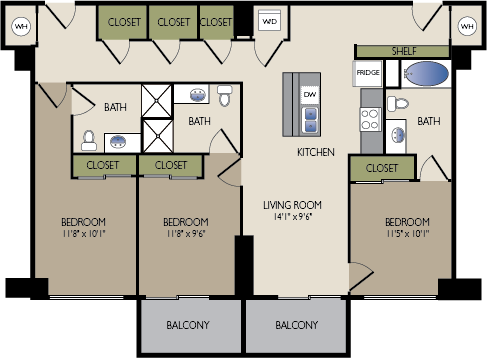 1,318 sq. ft. L floor plan