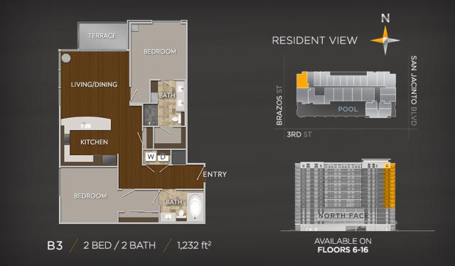 1,232 sq. ft. B3 floor plan