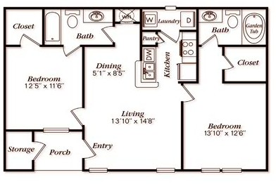 987 sq. ft. A41G floor plan