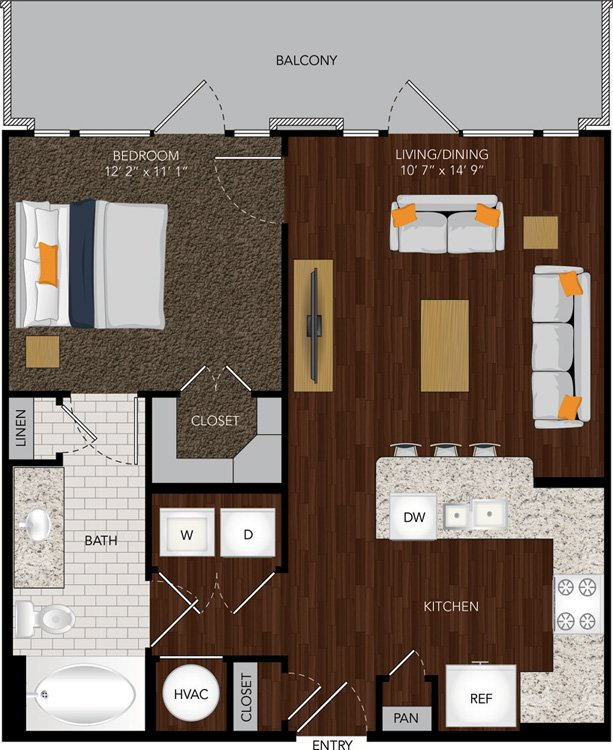 676 sq. ft. A9/A9A floor plan