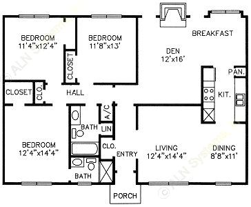 1,467 sq. ft. H floor plan