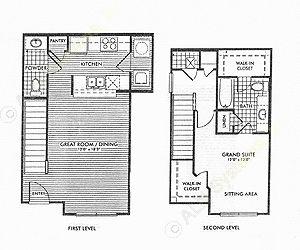 856 sq. ft. Maplewood/50% floor plan