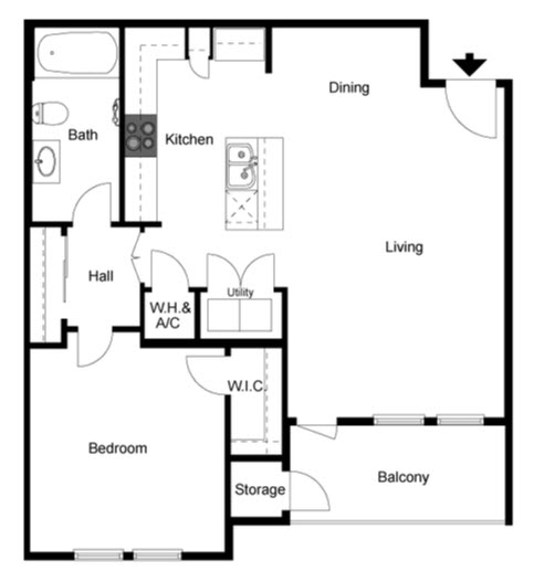 877 sq. ft. Cedar floor plan