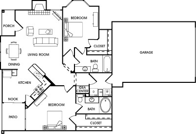 1,247 sq. ft. Rosemary floor plan