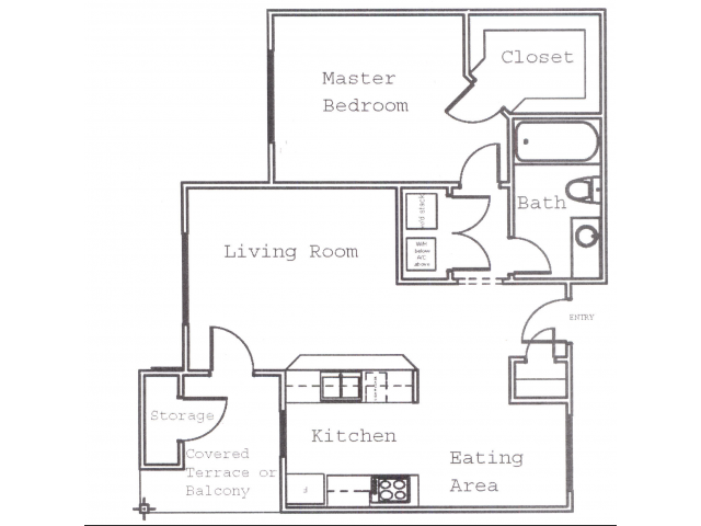 687 sq. ft. A3 floor plan