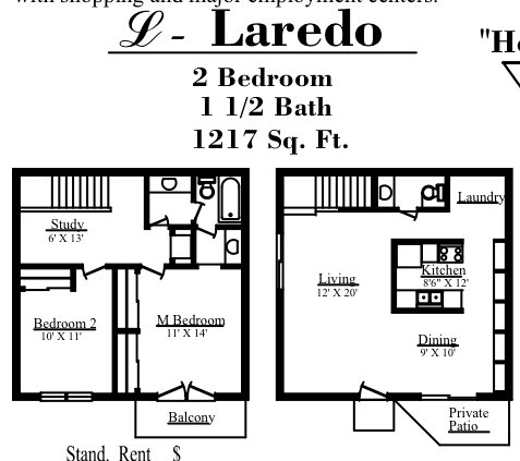 1,217 sq. ft. L floor plan