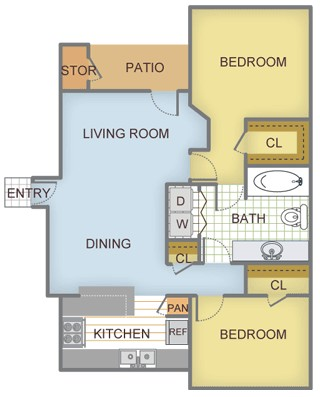 986 sq. ft. Maple floor plan