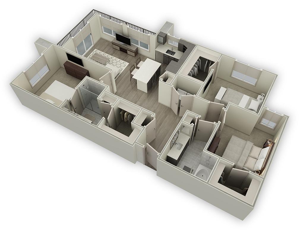 1,449 sq. ft. C1 floor plan