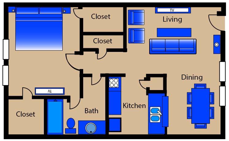 620 sq. ft. E1/E4 floor plan