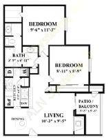 880 sq. ft. B1 floor plan