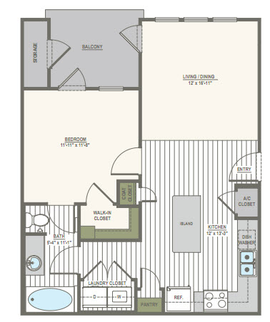 686 sq. ft. A1.A floor plan
