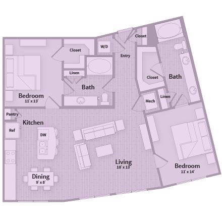 1,199 sq. ft. floor plan