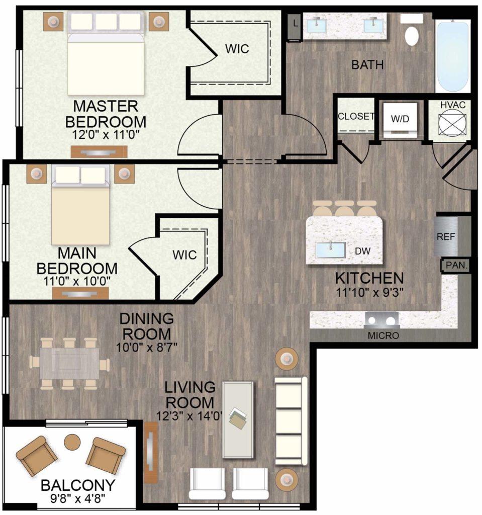 1,137 sq. ft. Verbena floor plan