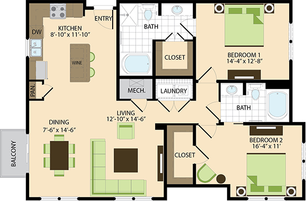 1,272 sq. ft. B5 floor plan