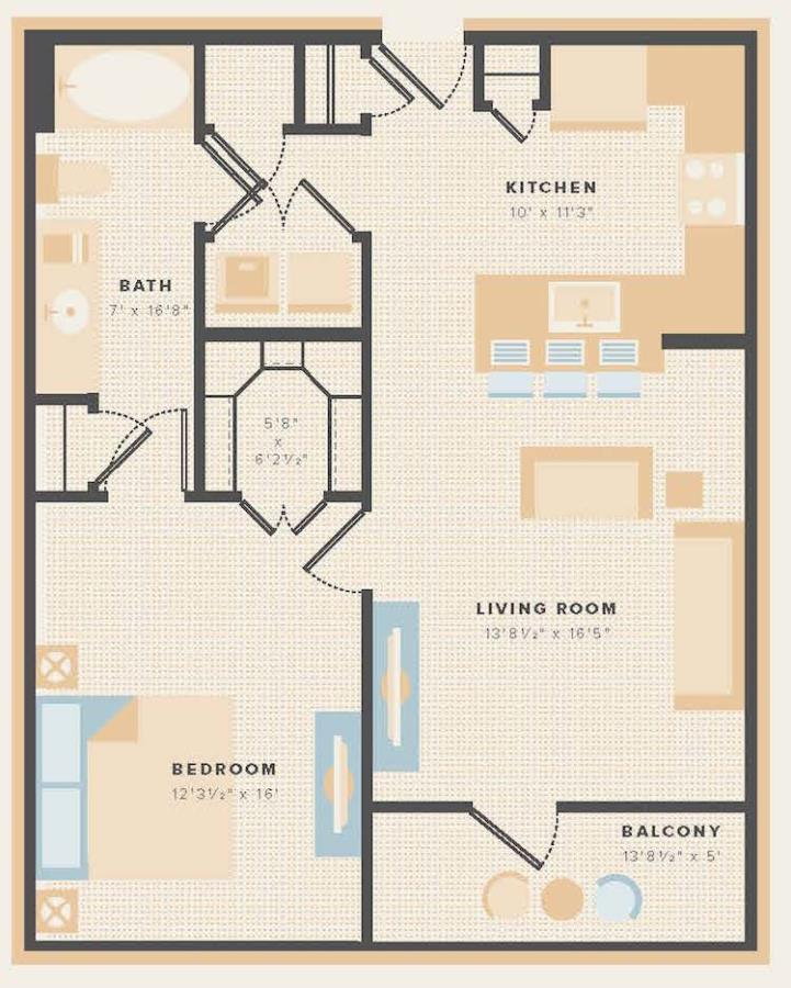 782 sq. ft. A7 floor plan