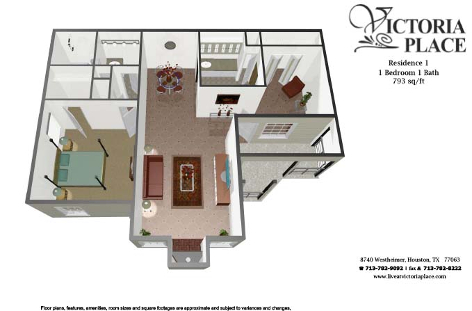 793 sq. ft. A1 floor plan