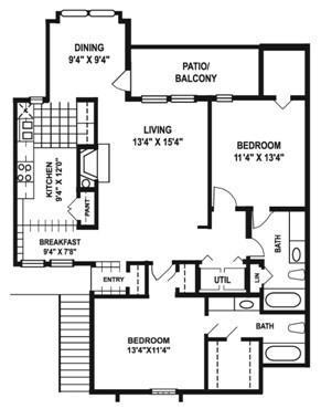 1,255 sq. ft. M2 floor plan