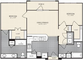984 sq. ft. Napoli floor plan