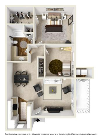 850 sq. ft. A2 floor plan