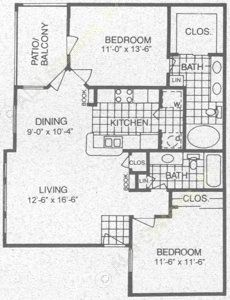 998 sq. ft. D1 floor plan