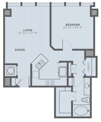 825 sq. ft. A2C floor plan