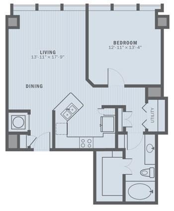 825 sq. ft. A2C floor plan