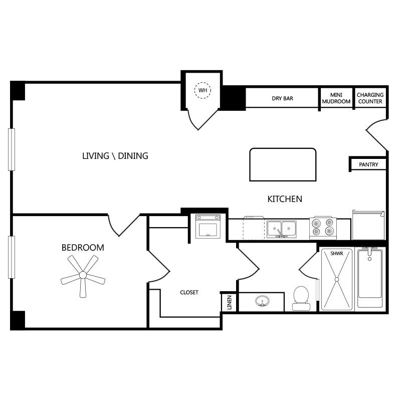814 sq. ft. A1 floor plan