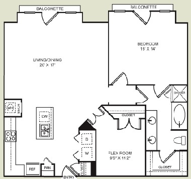1,151 sq. ft. A5 floor plan