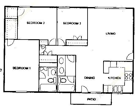 1,245 sq. ft. C floor plan