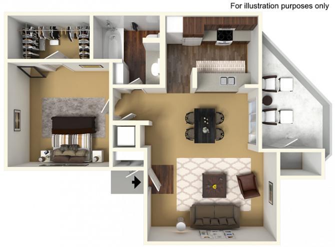 710 sq. ft. 60% floor plan