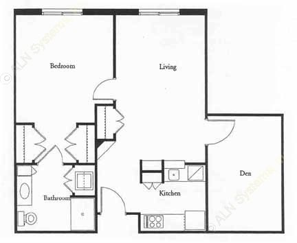 840 sq. ft. MACARTHR floor plan