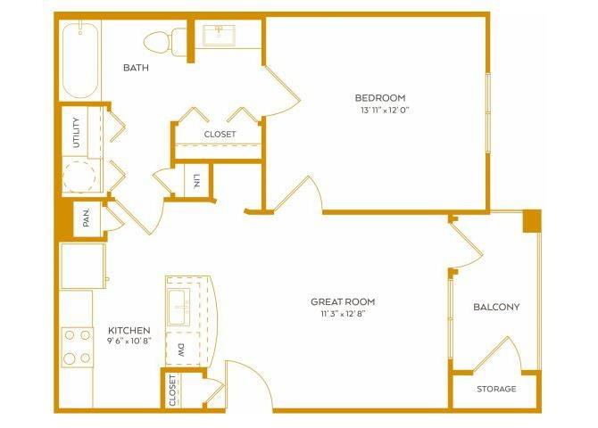 651 sq. ft. A1A floor plan