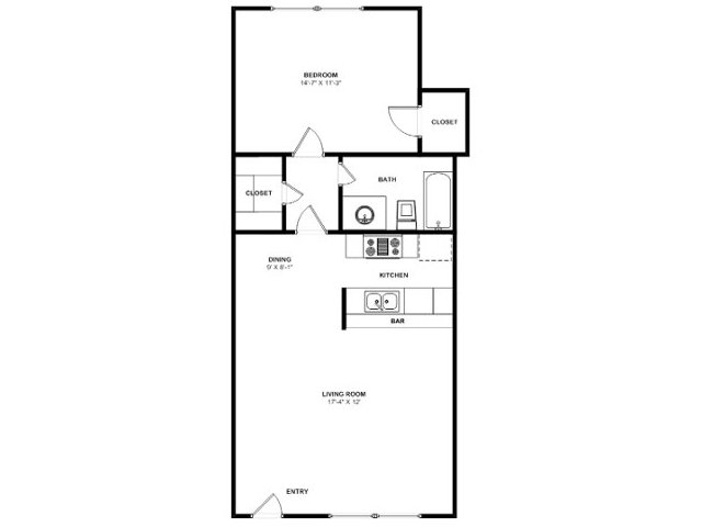 725 sq. ft. A7 floor plan