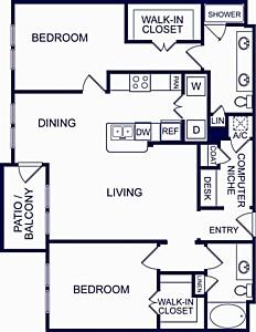 1,211 sq. ft. Seville One floor plan