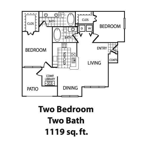 1,119 sq. ft. B3 floor plan