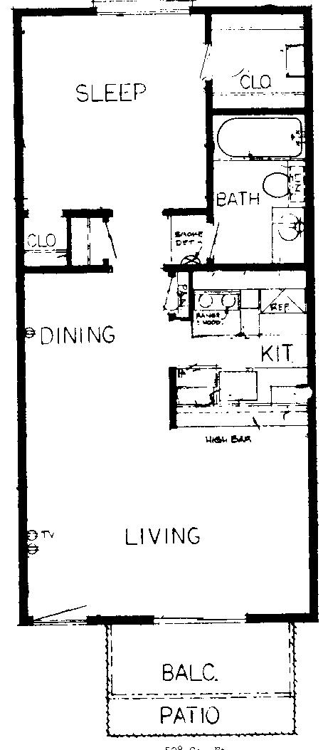 500 sq. ft. to 560 sq. ft. EFF floor plan