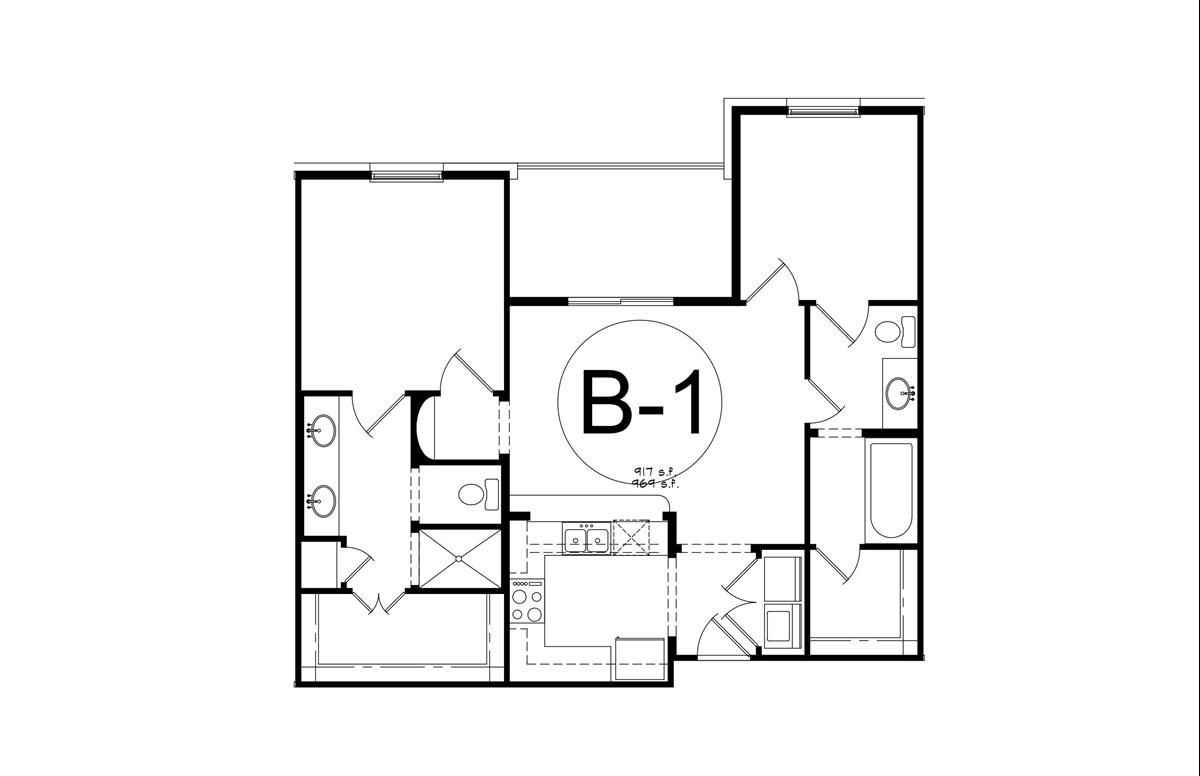 969 sq. ft. B1 floor plan