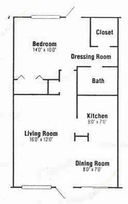 716 sq. ft. A-1 floor plan