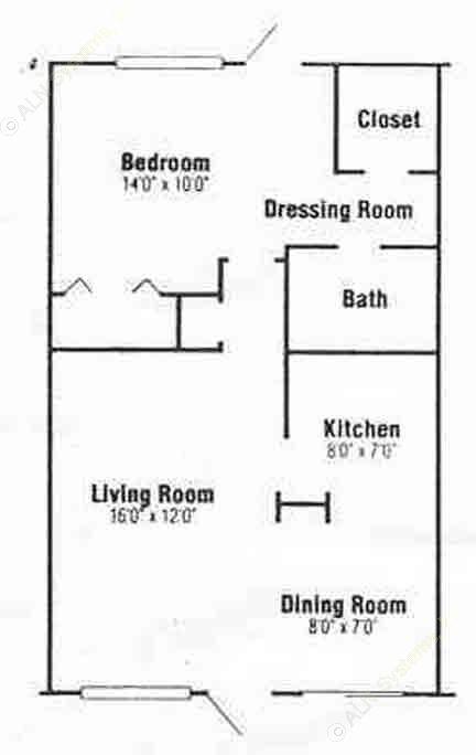 716 sq. ft. A-1 floor plan