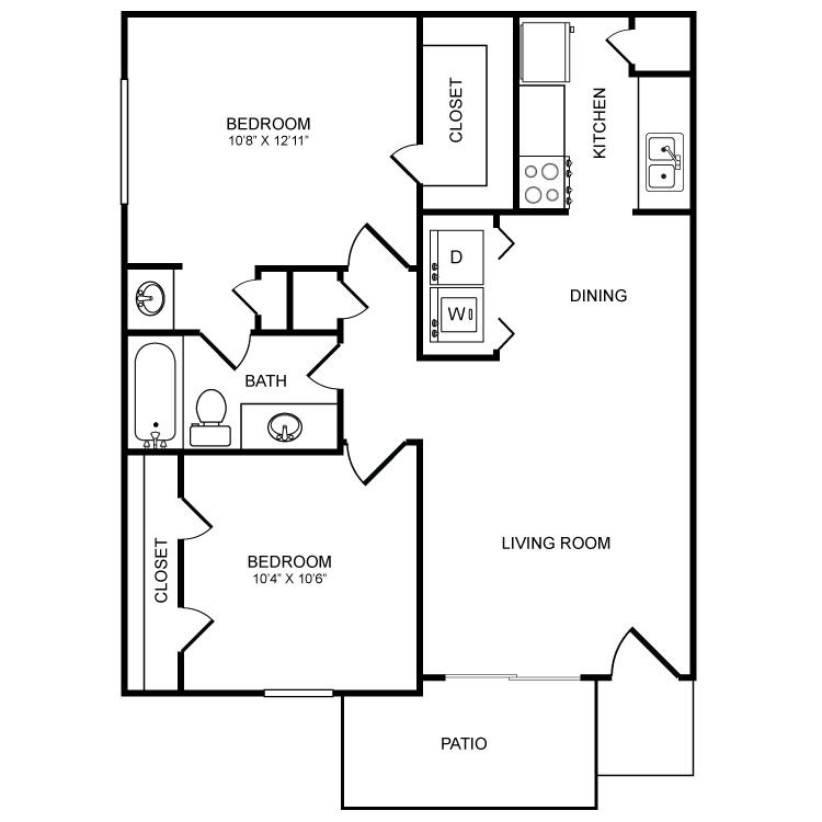 783 sq. ft. B1 floor plan