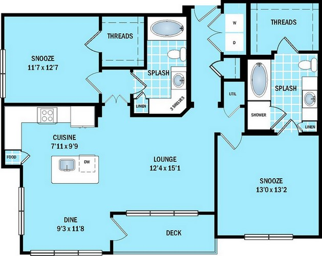 1,133 sq. ft. to 1,146 sq. ft. B2 floor plan