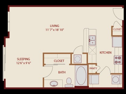 631 sq. ft. South X floor plan